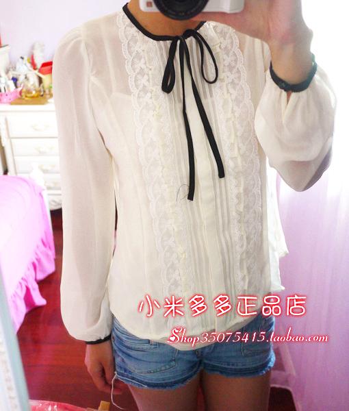 秋款复古花边细带长袖雪纺衬衫RCYW23801C YW23801C