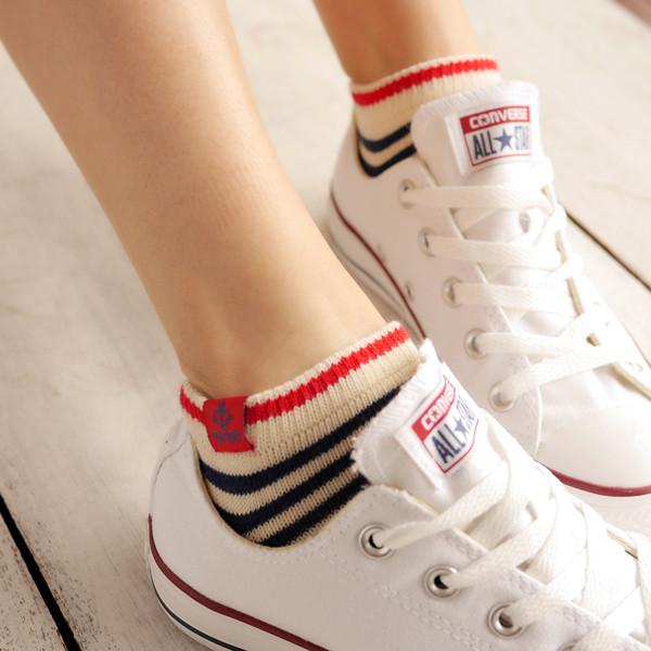 原单日韩系纯棉袜运动低帮短袜船袜可爱粗线防臭袜女袜子5件包邮