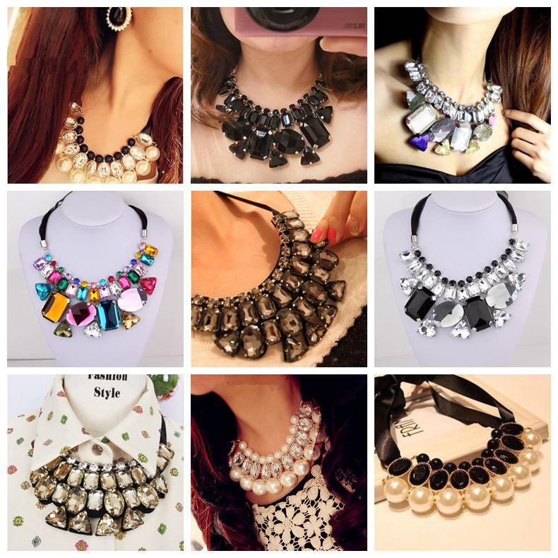 韩国饰品项链短款夸张珍珠镶钻彩色方块水晶宝石系带亚克力假领子