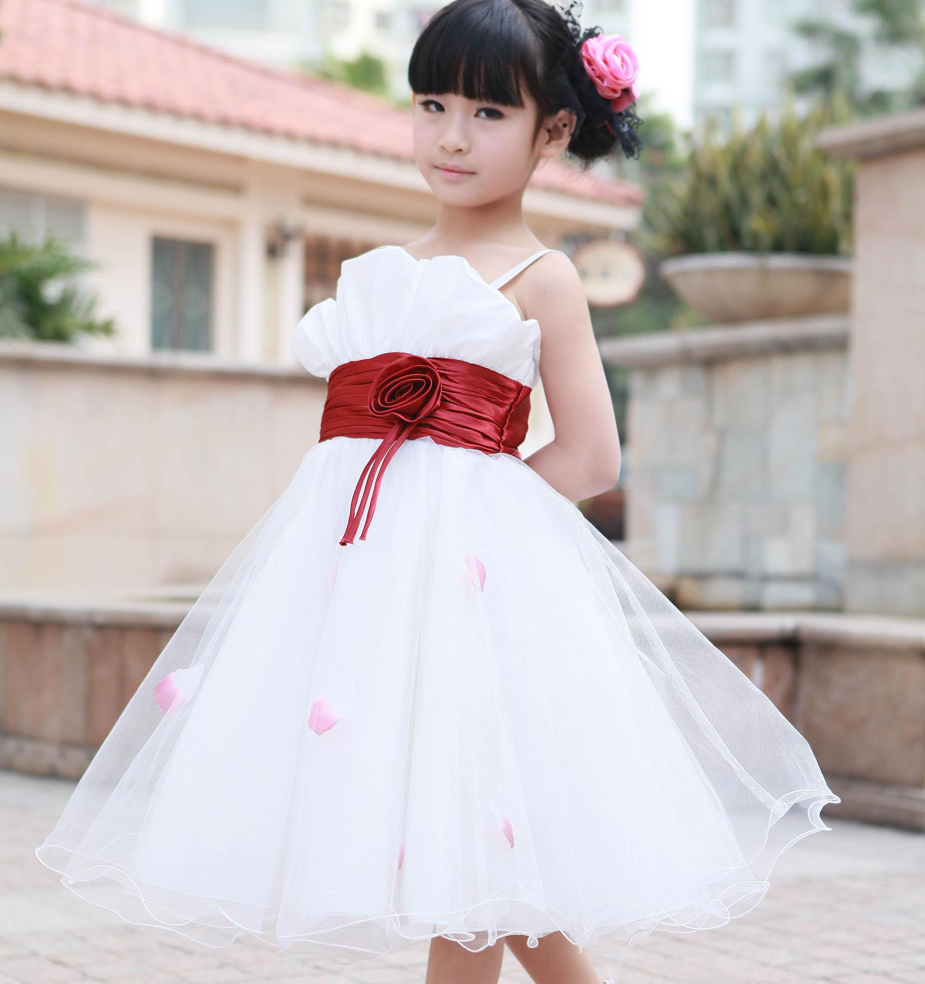 六一儿童主持人_夏女孩礼服中大儿童装青少年演出服中小学生吊带裙花童主持人礼服