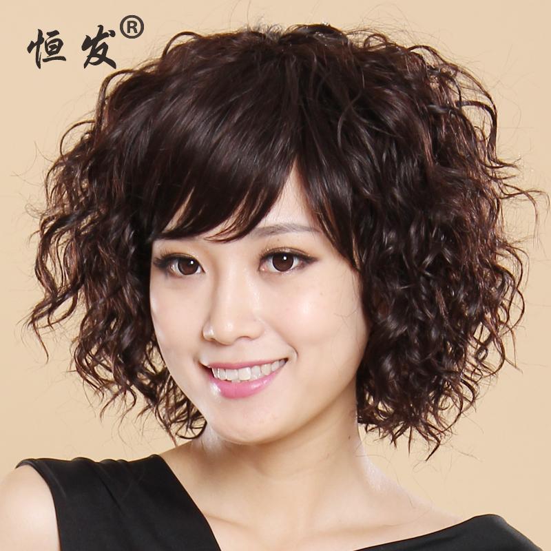 短卷发高温丝气质时尚女恒发斜刘海发型头套女士发套短发假发蓬松图片