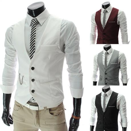 春秋上衣修身小马甲帅气男白领上班西装马甲送链条白色mens vest