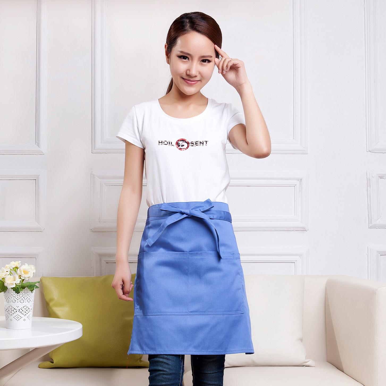 日式韩版纯棉色半身时尚可爱工作服围裙袖套厨师房服务员咖啡厅用
