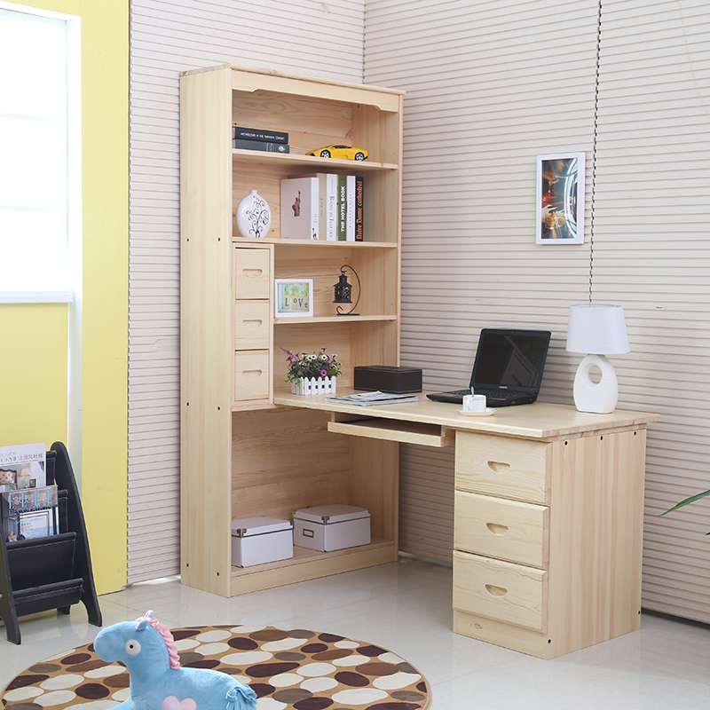 包邮实木电脑桌台式电脑桌松木书柜简约书桌儿童学习桌写字台课桌