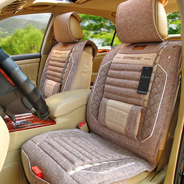 亚麻汽车坐垫全包五件套座垫套夏大众新老帕萨特领驭b4 B5新速腾