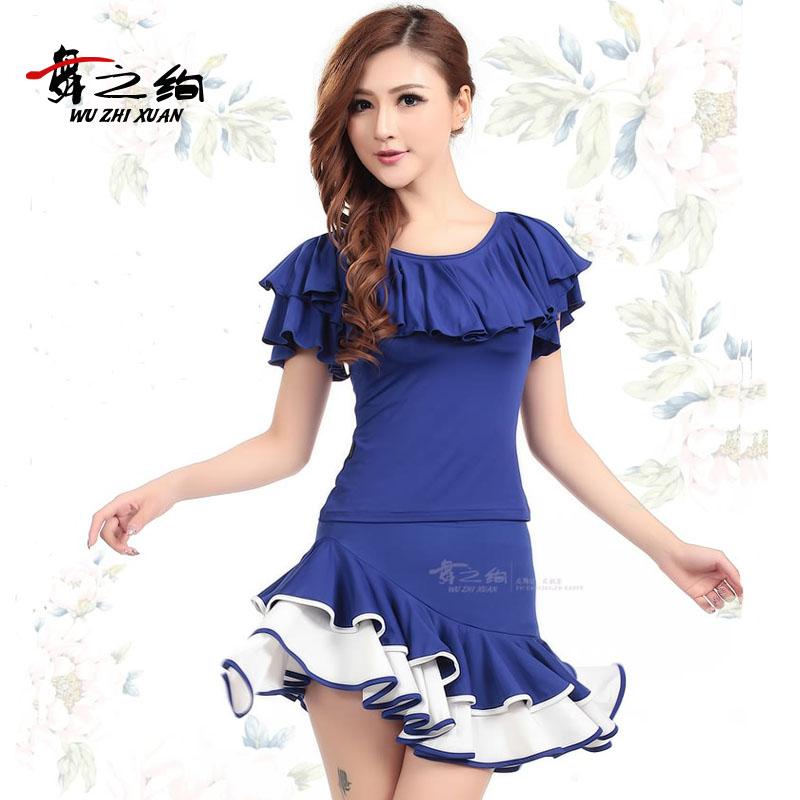 拉丁舞服装成人女舞蹈套装 春夏广场舞服装新款套装拉丁舞裙短裙