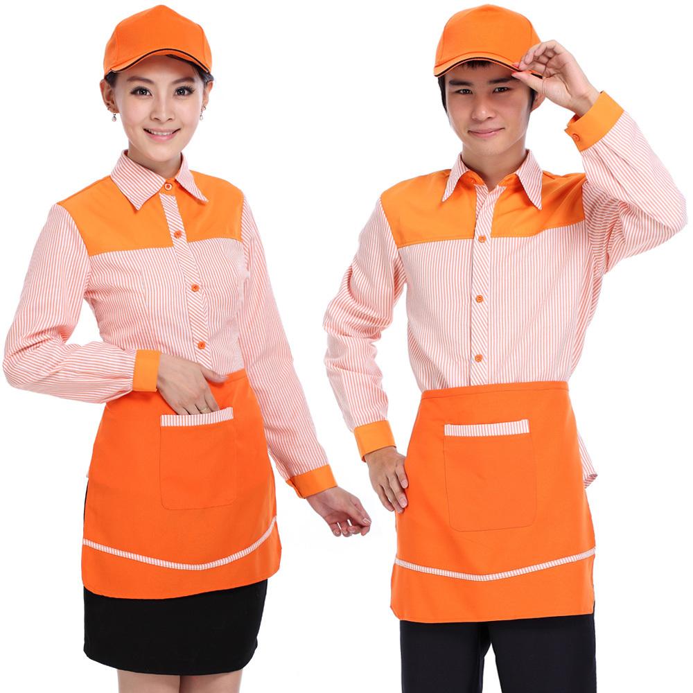 2013新款男女款便利店工作服 饭店餐饮服务员制服