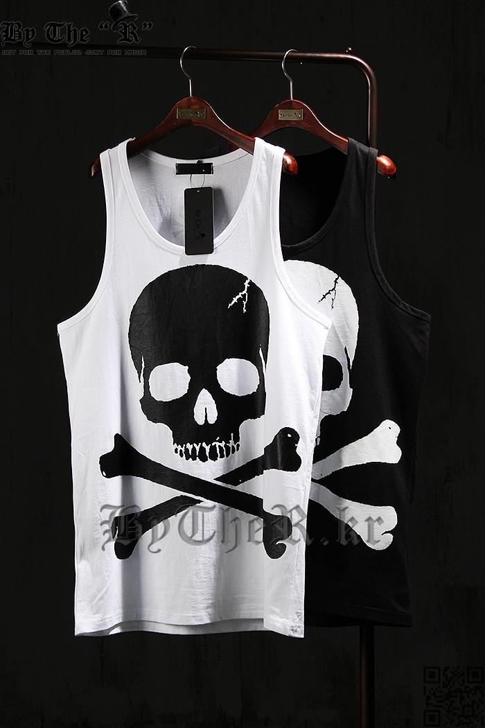 另类潮街舞蹈汗衫骷髅头背心 男skull tank top summer vest men