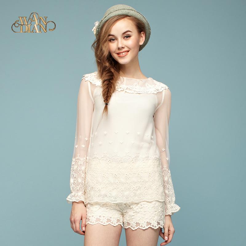 专柜正品婉甸女装剪标蕾丝网纱勾花甜美公主式两件套蕾丝衫