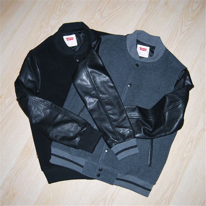 包邮顺丰Levi's李维斯羊皮袖子春装夹薄棉真皮皮衣修身棒球服
