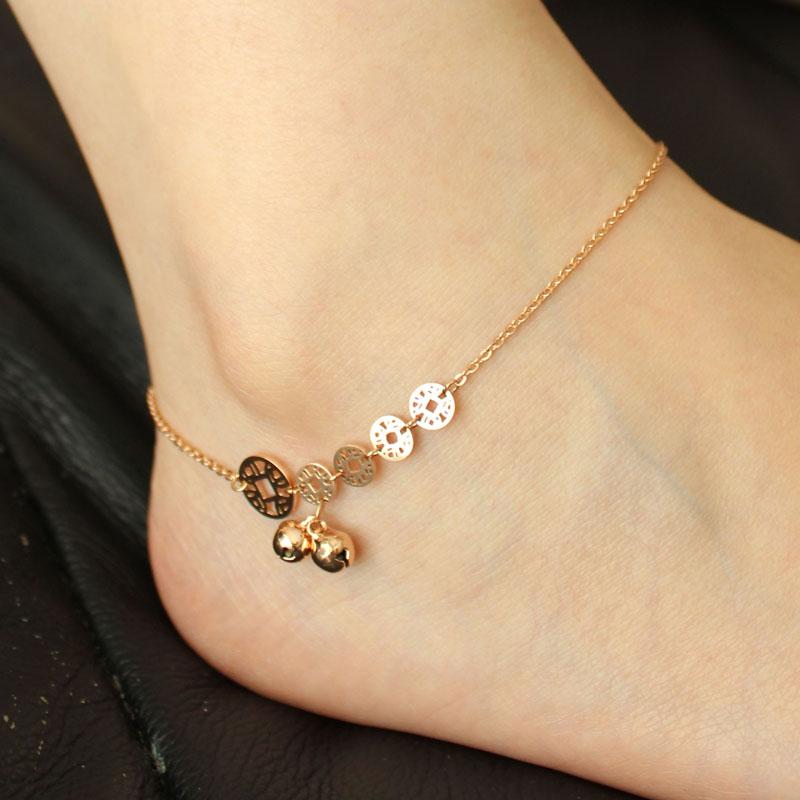新款18k玫瑰金脚链女韩版时尚五钱币可爱铃铛钛钢饰品女朋友礼物