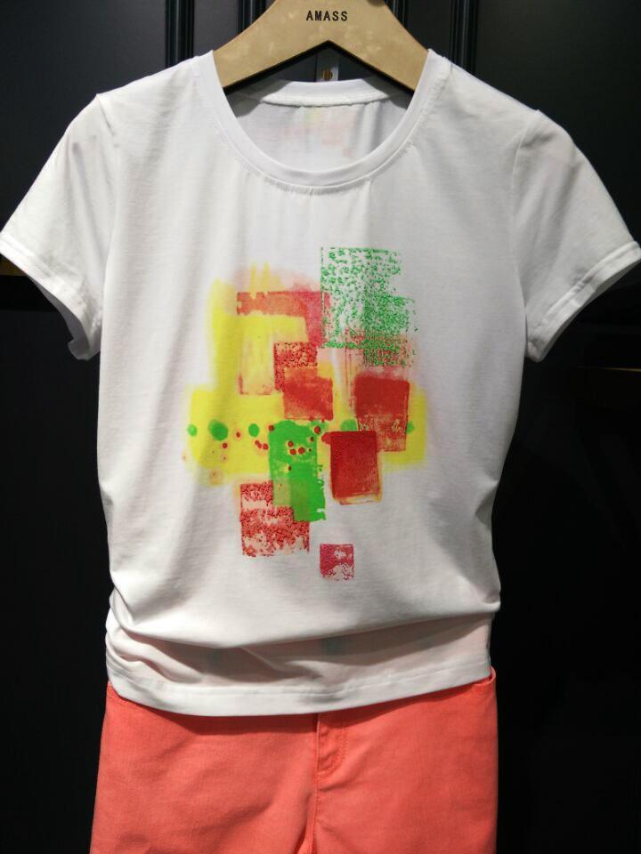 哥弟女装代购阿玛施旗舰店2015夏装纯棉amass短袖T恤衫大码打底衫