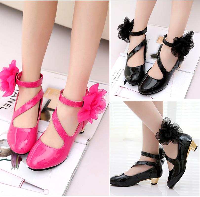 黑色女童皮鞋儿童高跟公主单鞋2015秋新款女大童鞋小女孩学生舞蹈