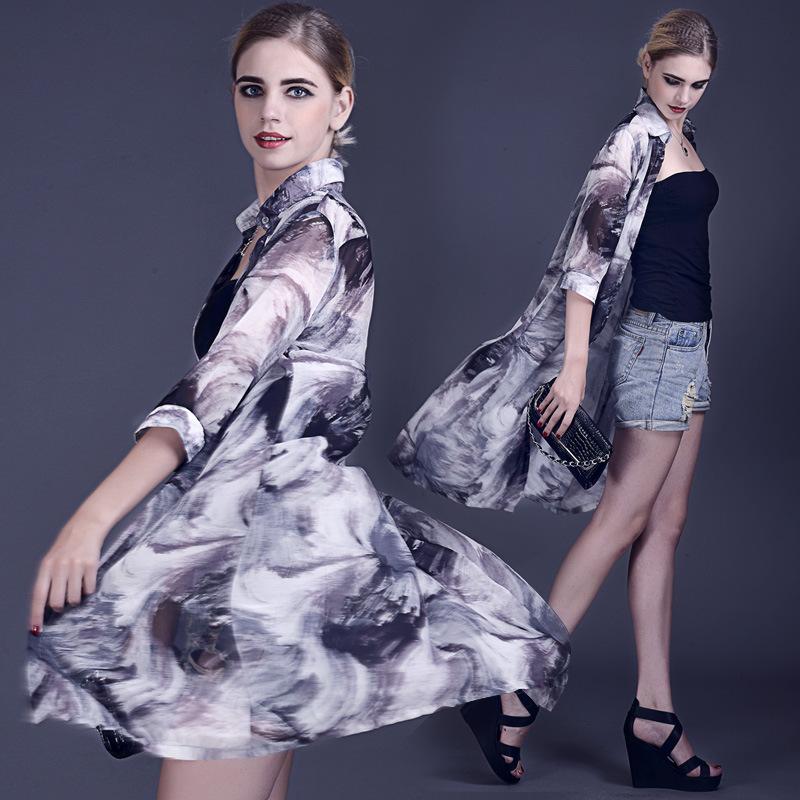 韩版水墨印花长款女夏季雪纺衫开衫防晒衣空调衫薄款2015七分袖潮