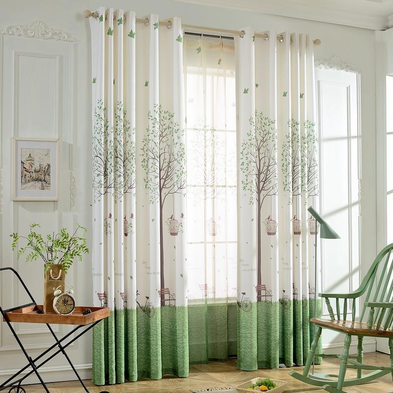 爱布爱家 现代简约成品窗帘布客厅卧室半遮光布田园飘窗窗帘定制
