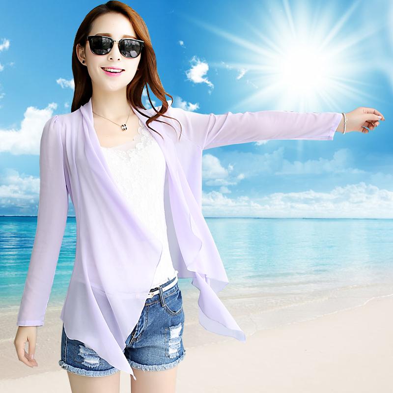 怀尔蔚2015韩版长袖雪纺衫女夏款开衫中长款超薄防晒空调衫防晒衣