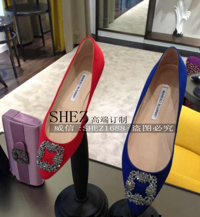 夏季女鞋 mb水钻方扣尖头平底单鞋 绸缎面真皮时尚银白色平跟婚鞋