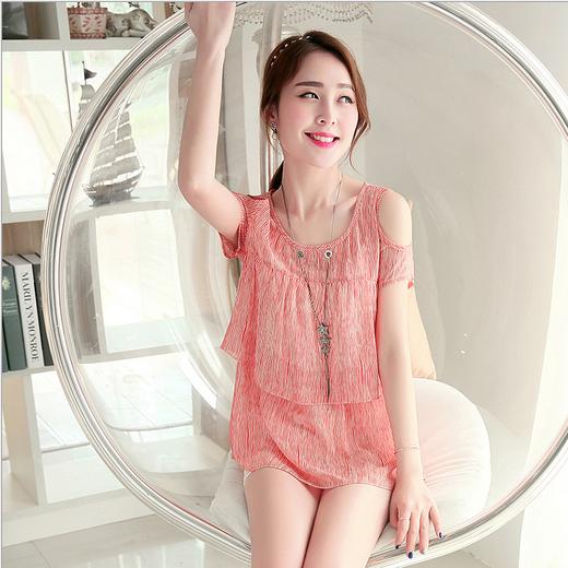 2015夏新款韩版短袖时尚露肩雪纺衫女修身显瘦甜美衬衫T恤上衣潮