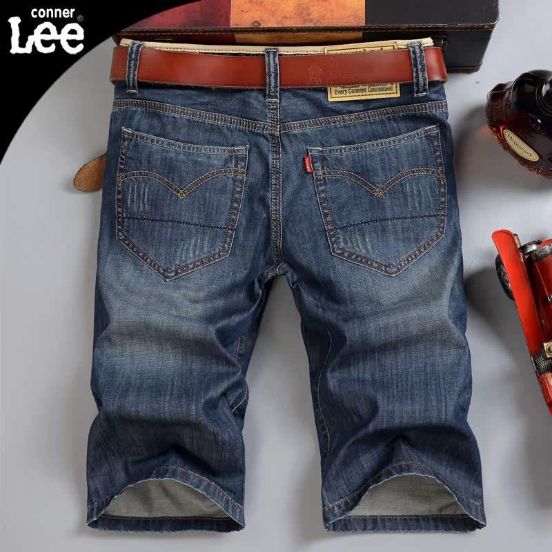 CONNERLee牛仔短裤男士夏季薄款大码宽松中裤直筒休闲5五分裤马裤