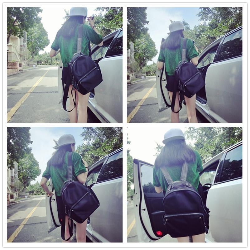 2015牛津布配真皮铆钉双肩包女学院风背包韩版潮女包时尚学生书包
