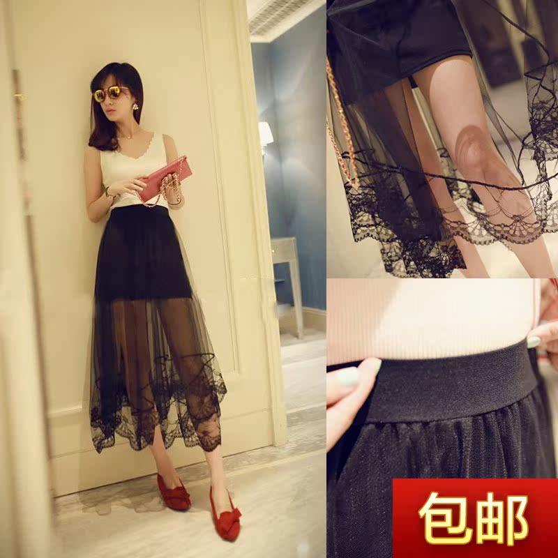 新款中长款潮流女装裙包臀打底裙拼接不规则蕾丝下摆网纱半身裙女