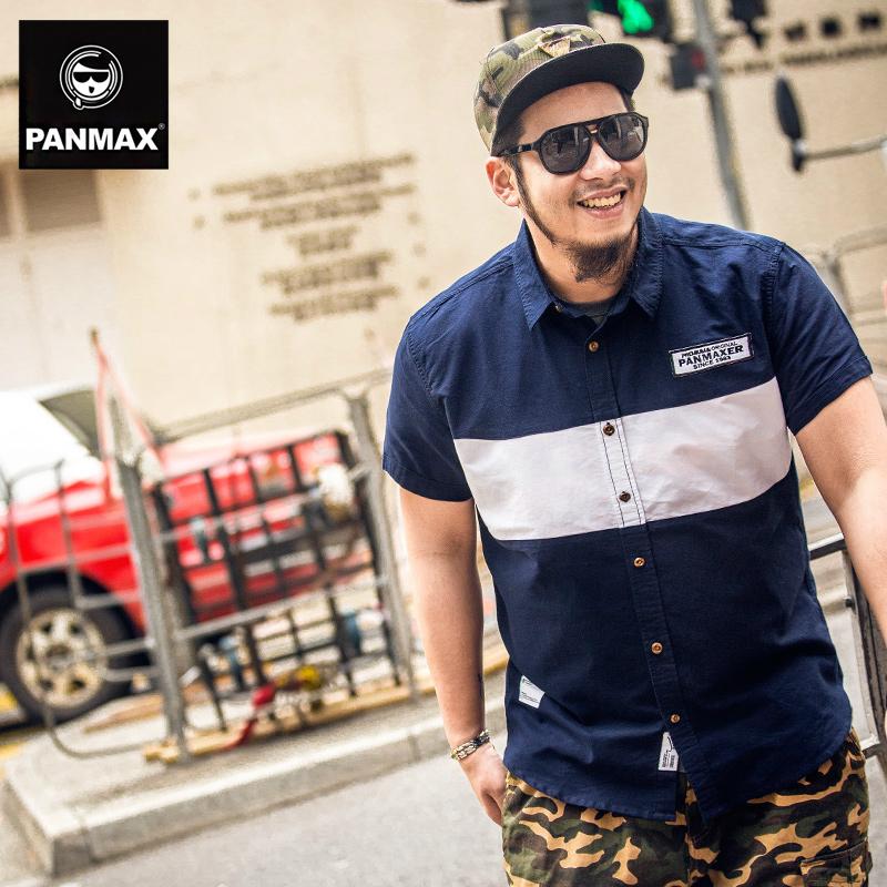 PANMAX潮牌大码男装 2015新款加大加肥 宽松大号短袖衬衫潮胖子