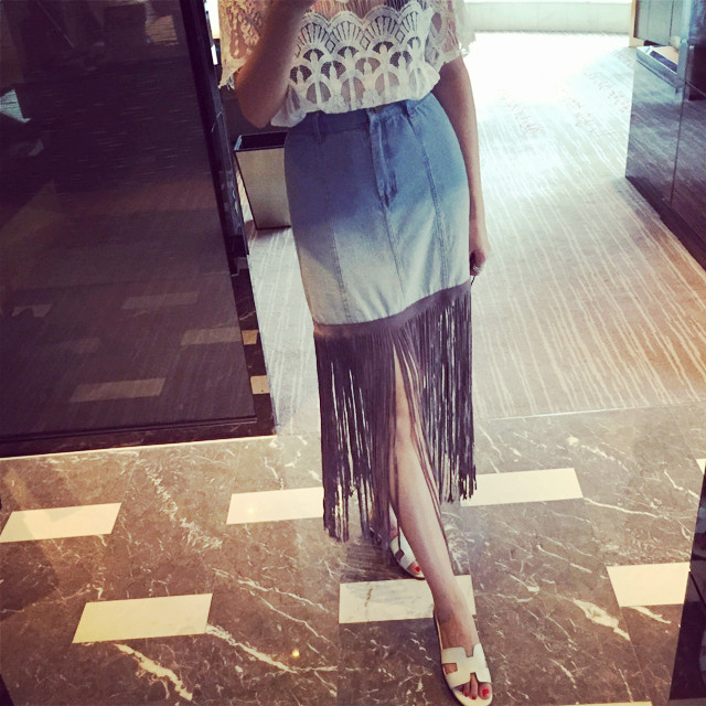 牛仔裙流苏_连衣裙修身流苏牛仔裙两件套女夏季条纹上衣