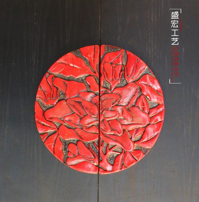 盛宏工艺品 现代中式仿古漆雕柜门把手明装复古 拉手 圆一对