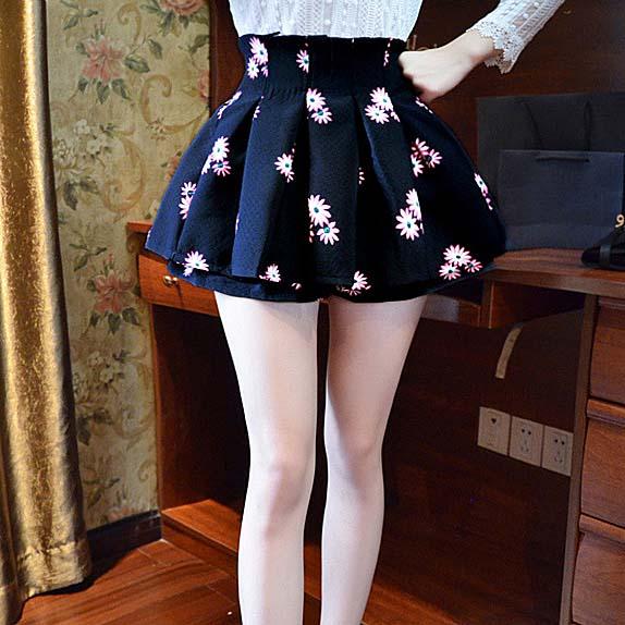 2015夏季新款高腰蓬蓬裙韩版修身印花半身裙百褶裙A字裙短裙裙裤