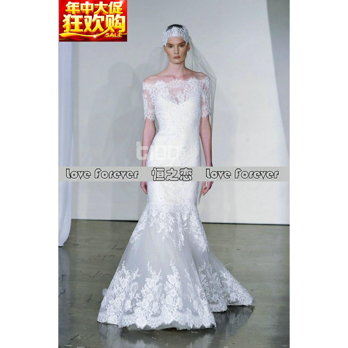 新娘婚礼优雅一字肩最新款Marchesa酒店室内促销婚纱手工蕾丝钉珠