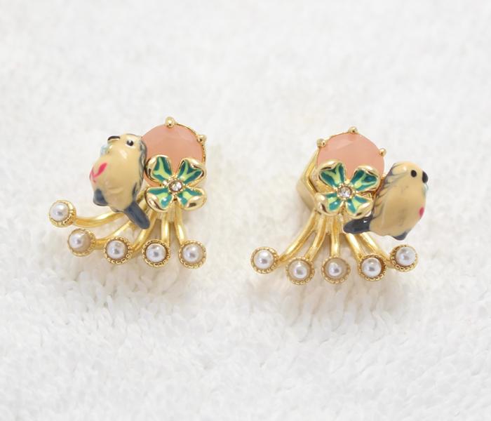 Les Nereides 珐琅釉小鸟粉色水晶镶嵌 珍珠耳堵个性时尚耳钉耳饰