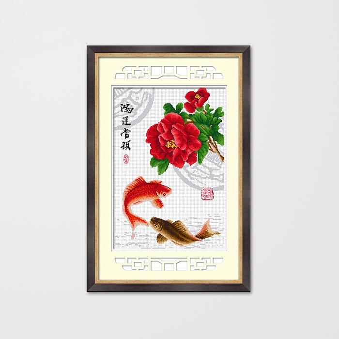 最新款KS十字绣正品 小幅牡丹花鱼图系列年年有余 竖版餐厅玄关画