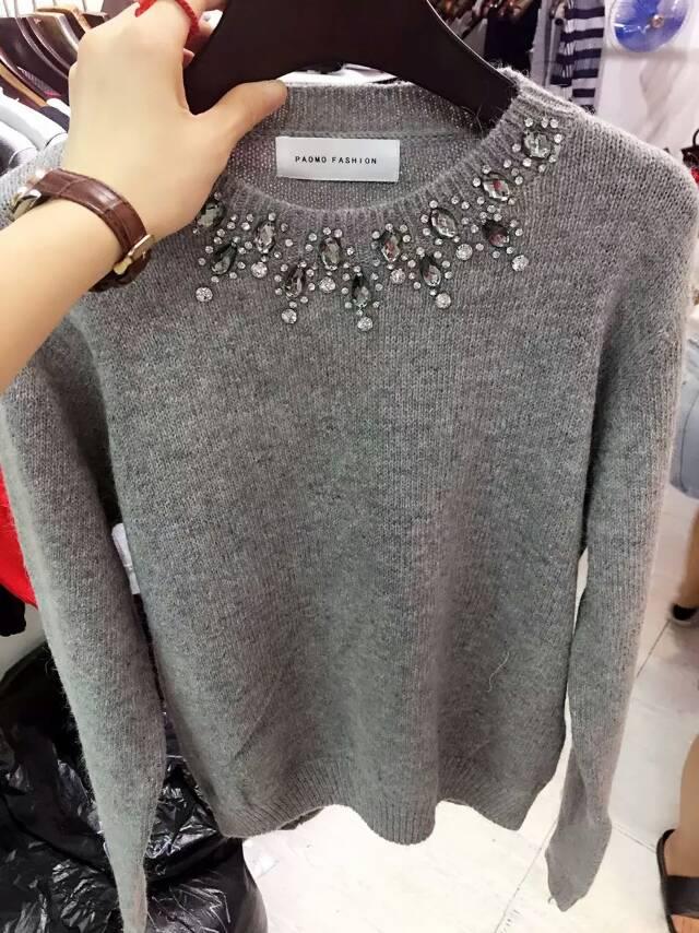 2015新秋款韩国代购带钻领针织毛衣纯色套头毛衫打底毛衣针织衫女