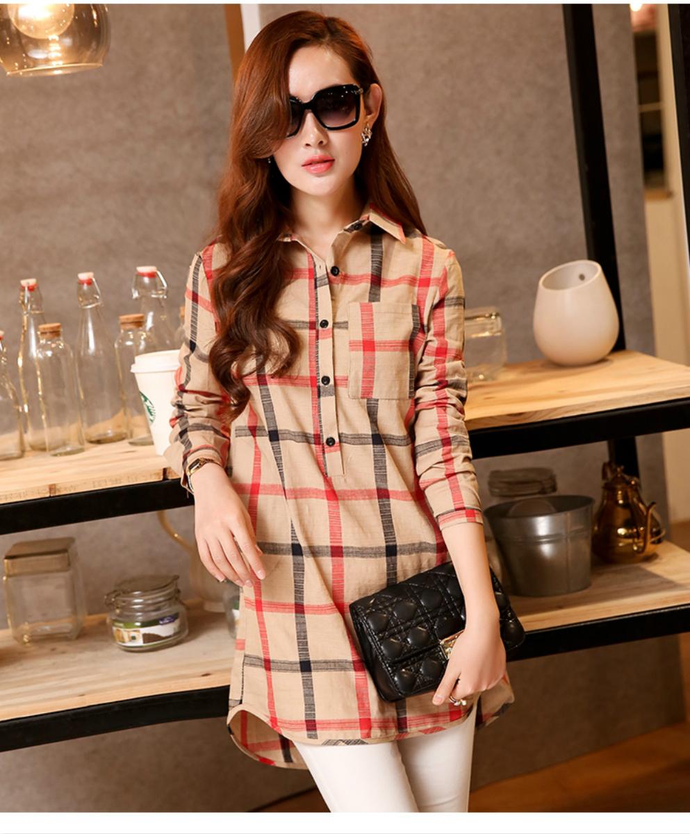 2015韩版新款棉麻衬衫女长袖衬衫女夏中长款上衣格子大码女装宽松
