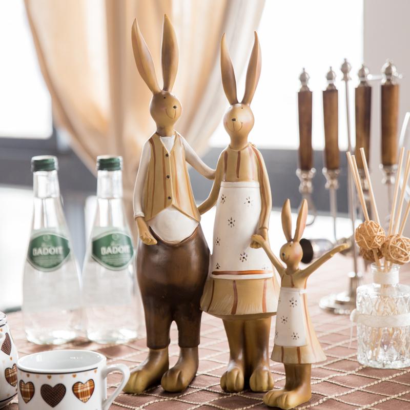 兔子一家三口美式装饰摆件家居饰品创意结婚礼物北欧客厅酒柜摆件