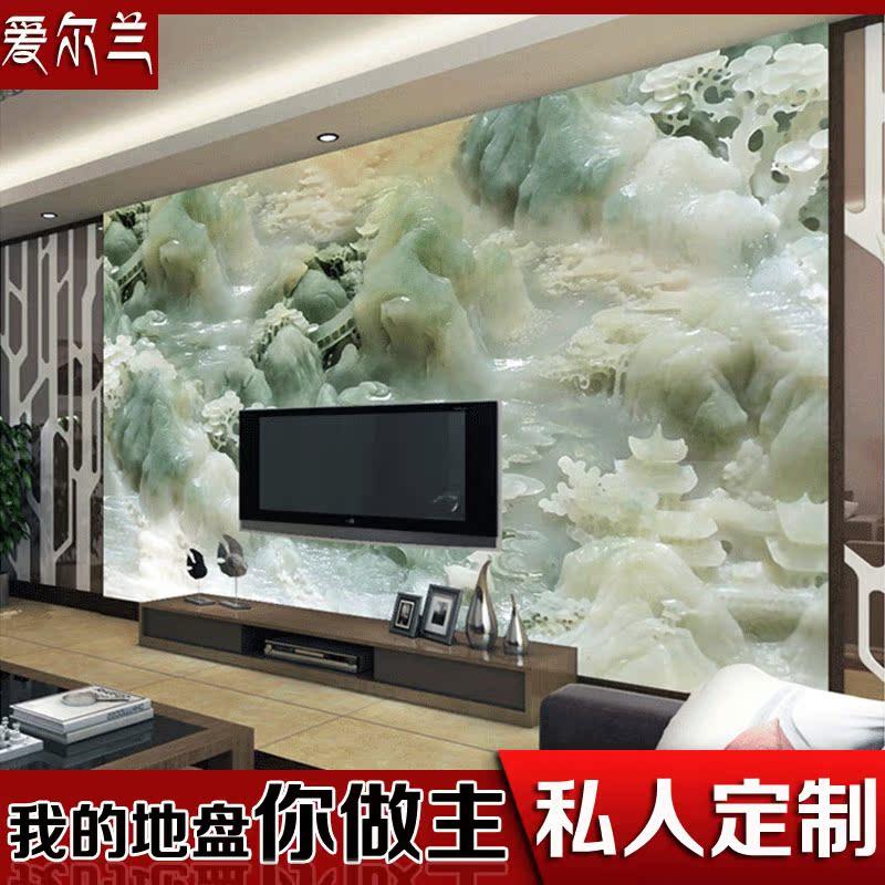 瓷砖背景墙3D玉雕中式古典山水背景墙玄关背景墙仿玉雕壁画