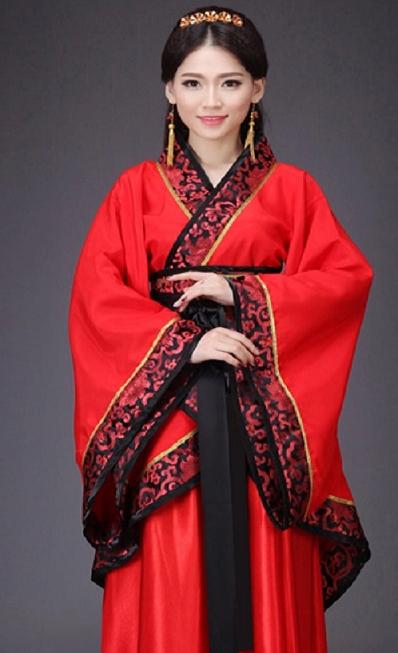 2014秋冬古装女装汉服曲裾红色成人礼毕业舞蹈演出大摆裙特价包邮