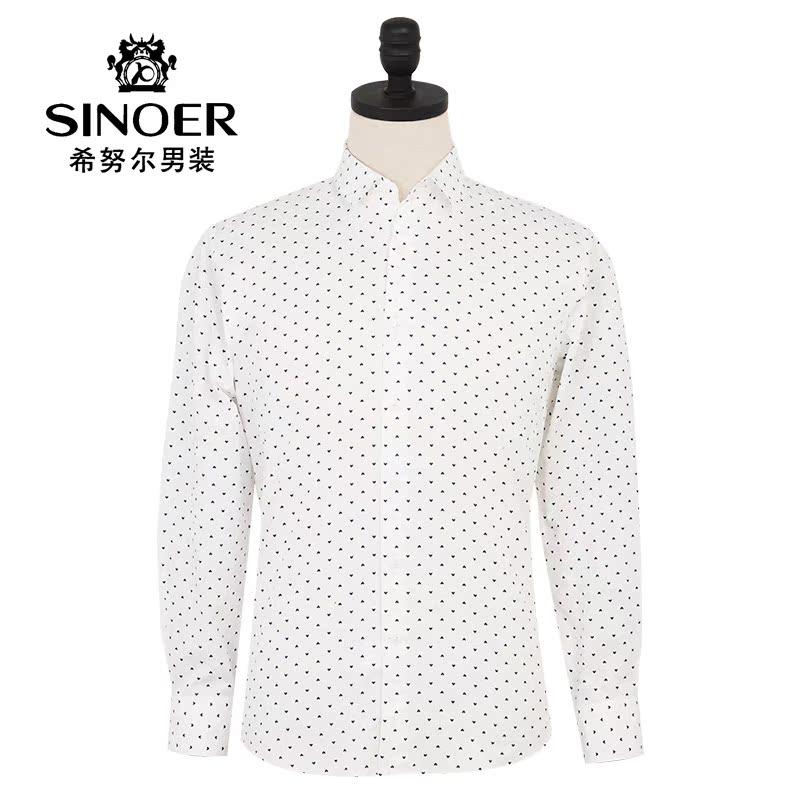 新郎希努尔男装正品 2015新款男士商务休闲时尚修身印花长袖衬衫