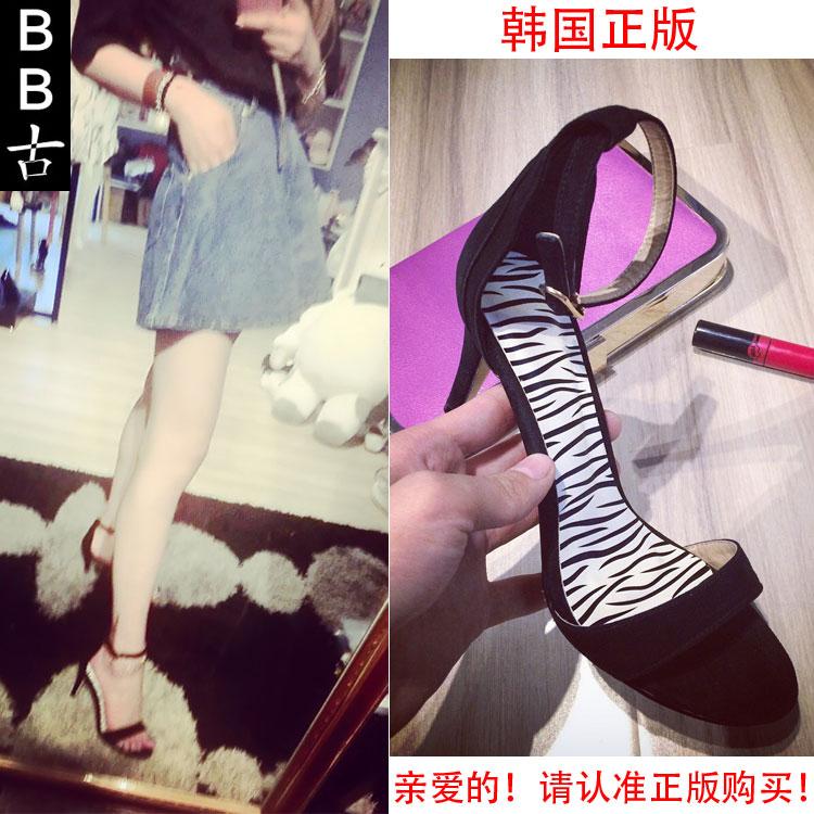 韩国代购2015夏季一字扣带真皮细跟女纯色磨砂细高跟凉鞋韩版简约