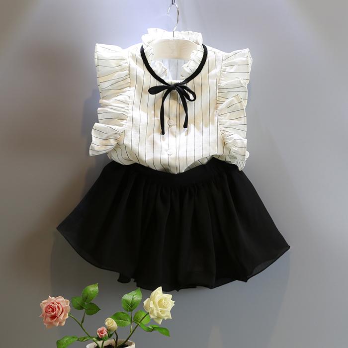 韩国童装夏装女童气质OL条纹衬衫飞袖甜美可爱裙裤两件套装套裙女
