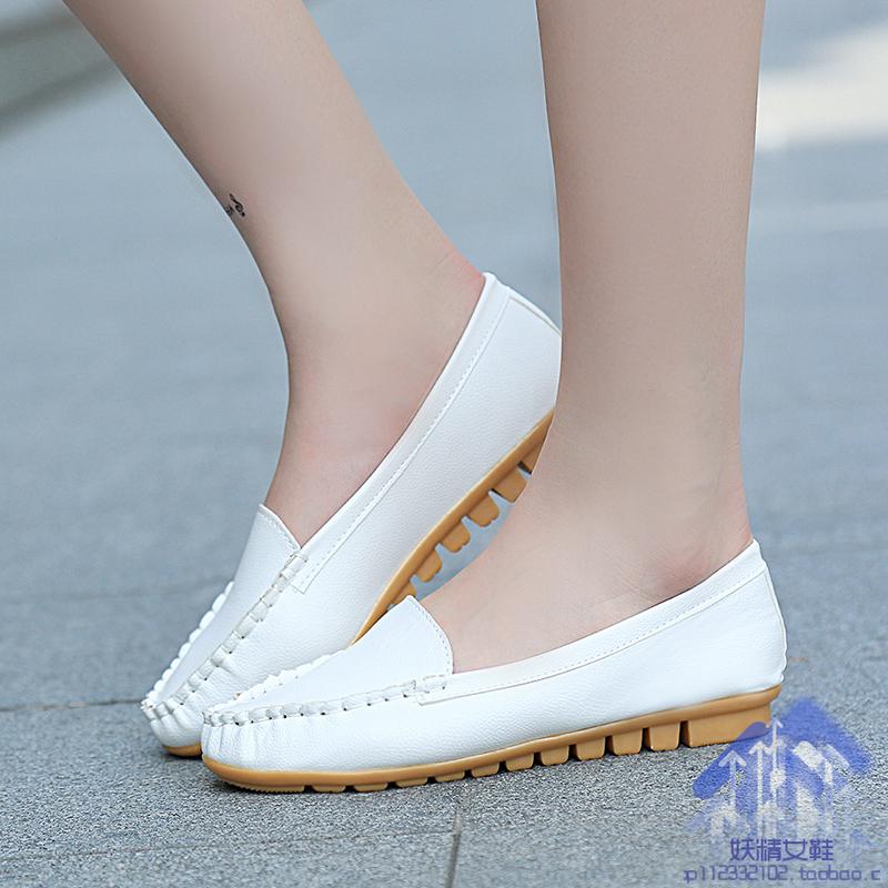 2015新豆豆鞋女夏平底平跟小白鞋妈妈鞋护士鞋圆头透气休闲鞋软底