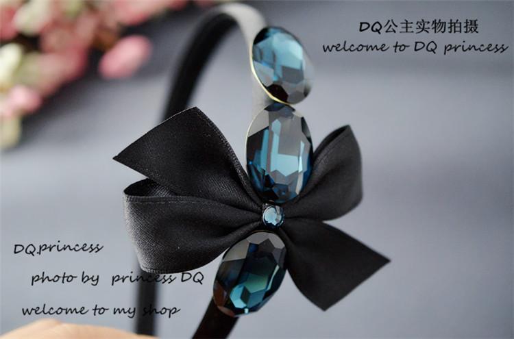 韩国进口正品代购阿吉豆同款水晶蝴蝶结压发发卡发箍发饰
