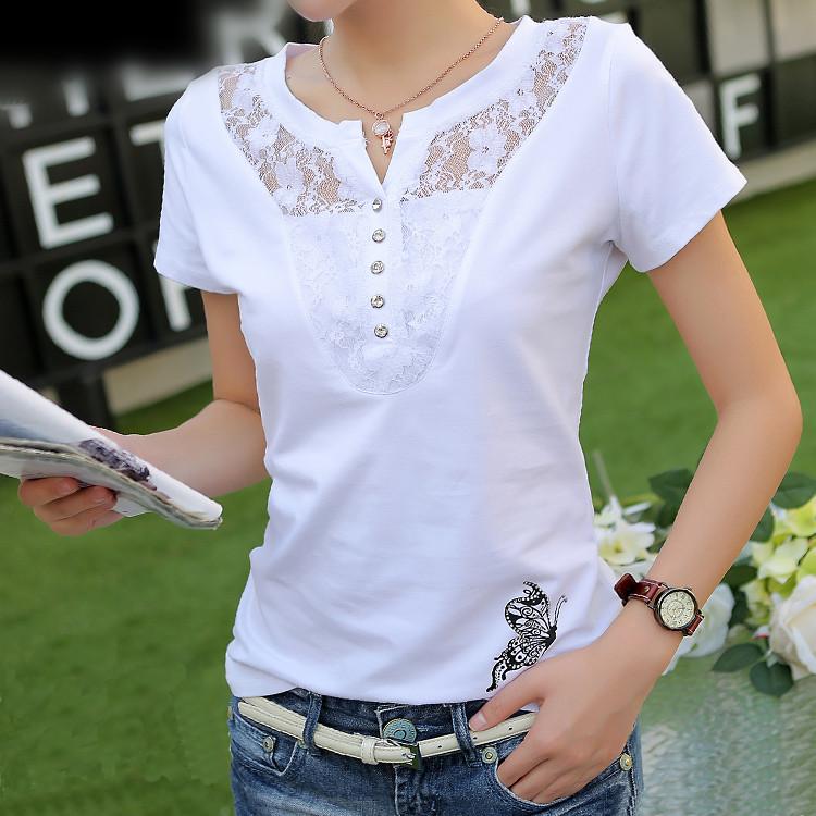韩版女装春夏装纯色蕾丝女士纯棉短袖t恤女夏修身打底衫白色上衣