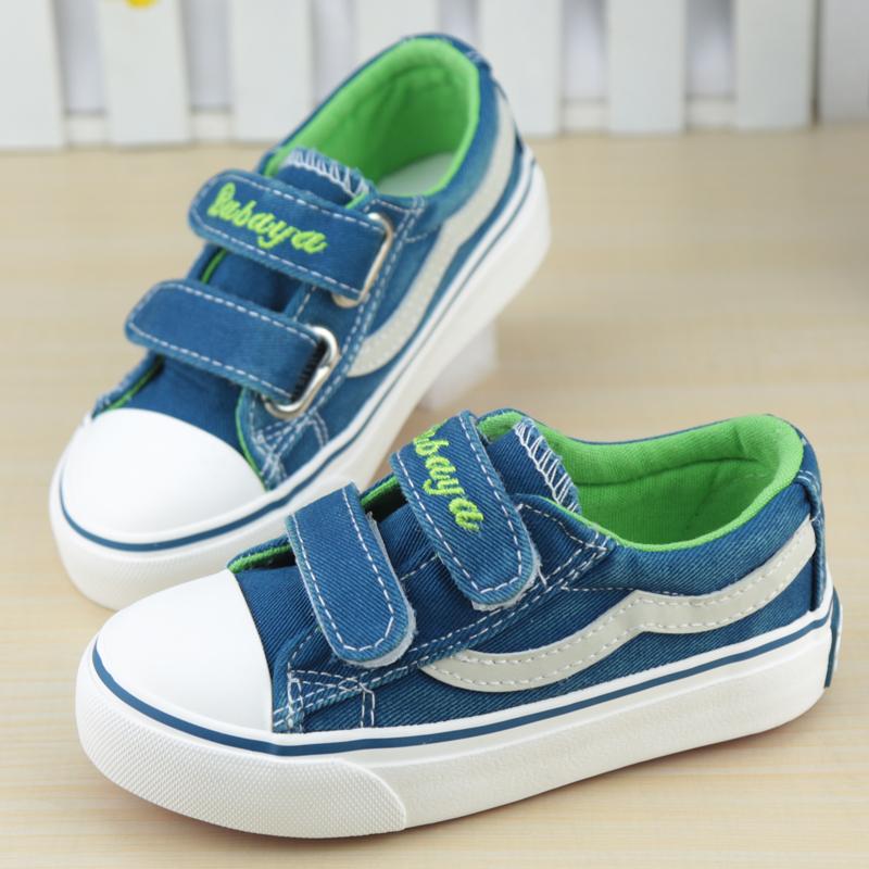 芭芭鸭2015新秋款韩潮儿童帆布鞋低帮魔术贴水洗牛仔布男童女童鞋