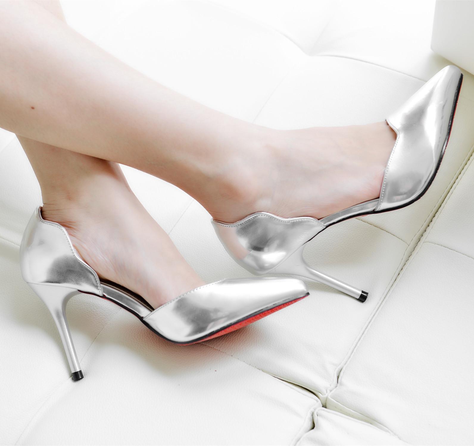 2015春韩版精致银色婚鞋细跟套脚小单鞋 浅口尖头鞋高跟单鞋女潮