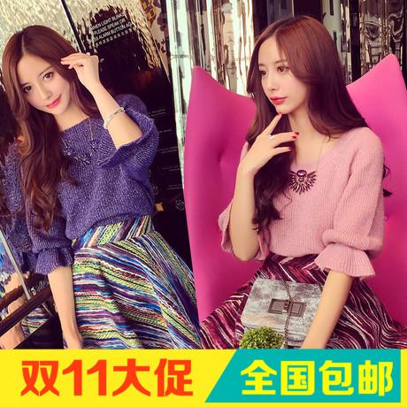 小银子2015秋冬装新款韩国范优雅减龄显瘦荷叶袖套头毛衣女M10110