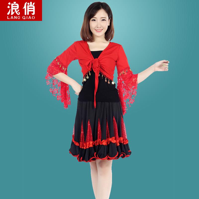 广场舞服装夏短裙套装2015女舞蹈服喇叭袖披肩上衣亮片拉丁大摆裙