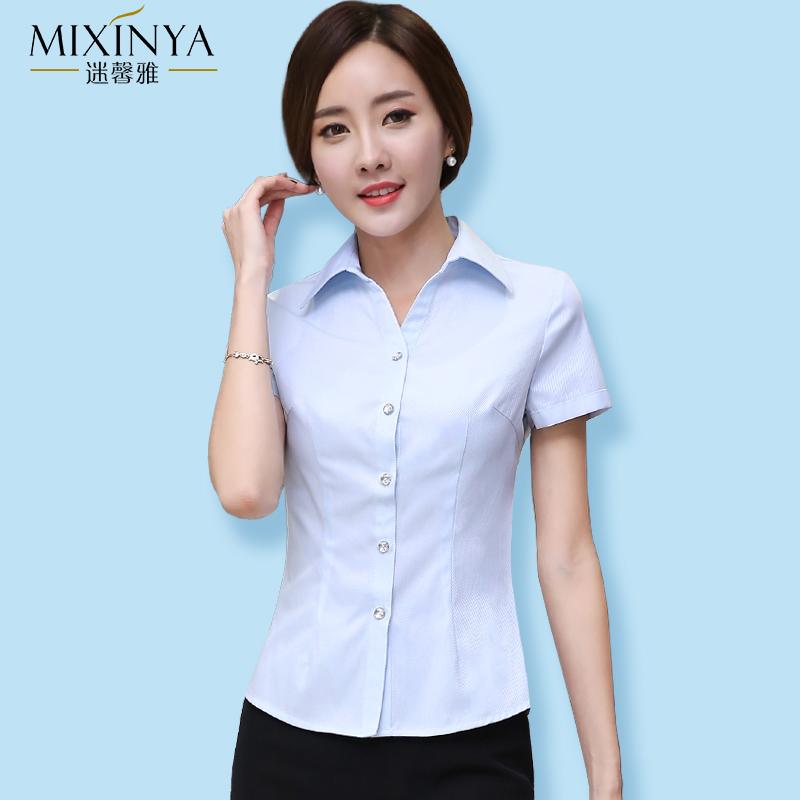 夏季新品短袖白衬衫女职业商务面试上衣通勤工作服OL职业正装衬衣