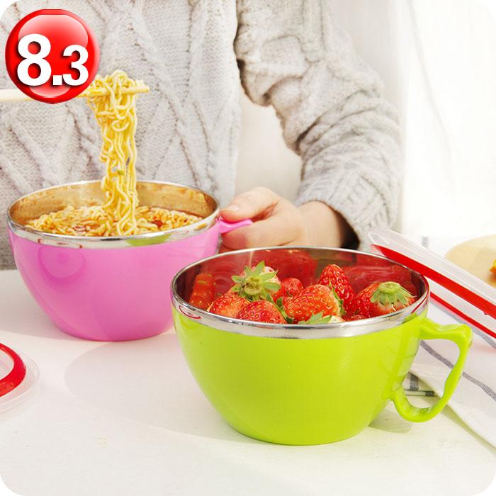 韩式不锈钢泡面碗 带盖大号便当盒饭盒 双层隔热防烫方便面碗汤碗