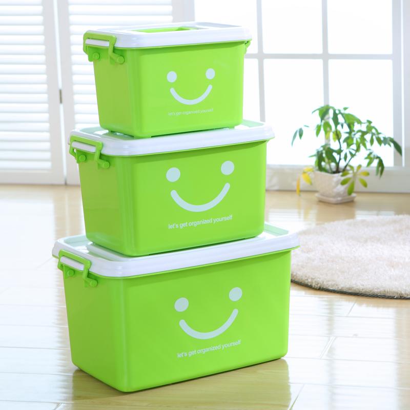 手提加厚透明塑料收纳箱衣服玩具塑料整理箱大中小号储物箱周转箱